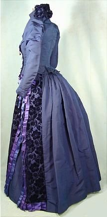c. 1888 Royal Blue Silk Faille Reception Gown Trimmed in Cut Velvet and Original Silk Blue and Lavender Ribbons.