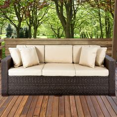 Attractive Outdoor Wicker Patio Furniture Sofa 3 Seater Luxury Comfort Brown Wicker  Couch *** You Can Get More Details By Clicking On The Image.