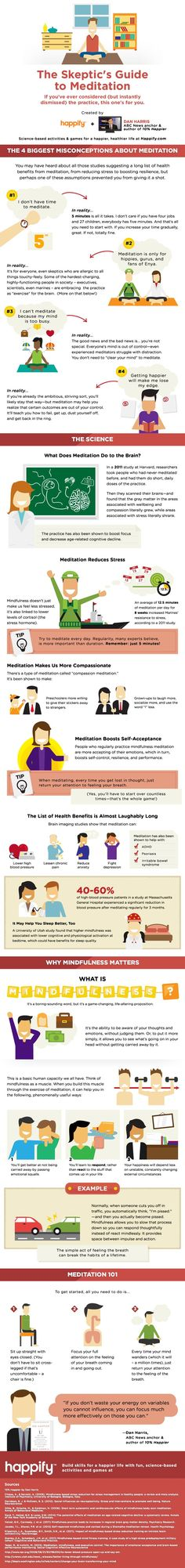 Thanks to YogaDork for sharing this must see infographic. It's the Skeptic's Guide to Meditation and it was created by happify and ABC news anchor Tim Harris, author of . It shows how just five minutes of meditation a day can have a … Continue reading → Guided Meditation, Meditation Practices, Mindfulness Practice, Aikido, Meditation For Beginners, Meditation Techniques, Relaxation Techniques, Mind Body Spirit, Mind Body Soul