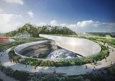 Global architecture agency Perkins + Will was chosen to design a science and technology museum in Suzhou, a big city located about 62 miles kilometers) northwest of Shanghai. The museum includes an industrial exhibition Science Center Architecture, China Architecture, Museum Architecture, Futuristic Architecture, Organic Architecture, Amazing Architecture, Technology World, Futuristic Technology, Futuristic Design