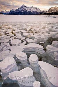 Surreal Ice Bubbles on Abraham Lake, Alberta, Canada.