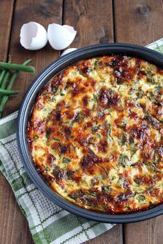 Crustless Quiche with Green Beans and Swiss Chard