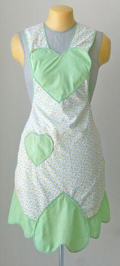 1950s Heart  Flowers Apron