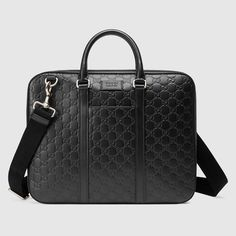 1b95c3cc99d7 Shop the Gucci Signature leather briefcase by Gucci. A slim briefcase with  rounded corners and a double zip closure. Made in heat debossed Gucci  Signature ...