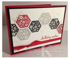 handmade birthday card ... black, white, gray and red ... like the arrangement of punched hexagons running across the card ... Stampin' Up!