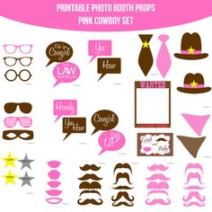 Pink Cowboy Party Party Printable Photo Booth PhotoBooth Props. Only $4.99! Buy it now at www.amandakeyt.com. Buy the app! Enjoy life!