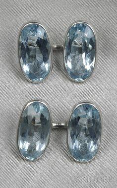 Platinum and Aquamarine Cuff Links