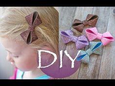 Глиттерный фоамиран, детские заколки бантики /Glitter foam, baby hair clips bows - YouTube