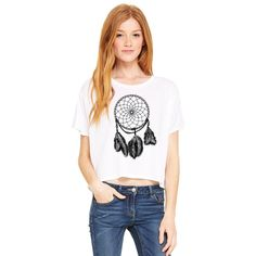Dream Catcher Boxy Tee (91 BRL) ❤ liked on Polyvore featuring tops, t-shirts, white, women's clothing, white graphic t shirts, graphic design t shirts, graphic t shirts, convertible tops y white tee