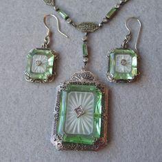 Vintage 1920's Sterling Silver, Green Vaseline & Camphor Glass Diamond Necklace & Earrings Set - Vintage 1920's Sterling Silver, Green Vaseline & Camphor Glass Diamond Necklace & Earrings Set