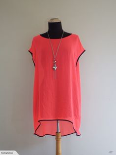 Repertoire | Fun Fluro Drop Hem Top (14-16) | Trade Me Enlarge Photos, Top 14, Close Up Photos, Orange Color, That Look, Drop, Shirt Dress, Fashion Outfits, This Or That Questions