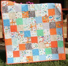 Scenic Car Quilt Baby Boy Blanket Nursery Bedding Décor Orange Blue Transportation by SunnysideDesigns2 on Etsy, $159.00