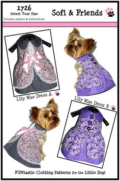 Dog Clothes Pattern 1726 Lily Mae Dog Dress for by SofiandFriends