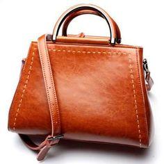 Cow Split Leather Oil Wax Boxx Shoulder Bag |5 colors