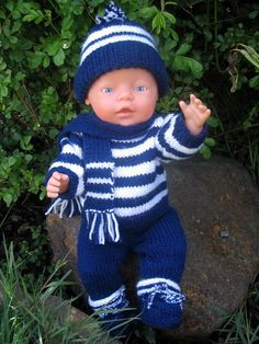 Jojo pdf knitting pattern for doll clothes to suit 16 17 inch 40 43 cm baby dolls such as baby born modele de tricot pour poupee tricoter un bel ensemble pour poupon Baby Knitting Patterns, Knitted Doll Patterns, Knitted Dolls, Baby Patterns, Crochet Patterns, Baby Born Clothes, Boy Doll Clothes, Knitting Dolls Clothes, Doll Clothes Patterns