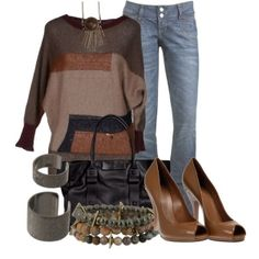 """Bringing Brown & Black Together"" by christina-young on Polyvore by nanette.powers.33"