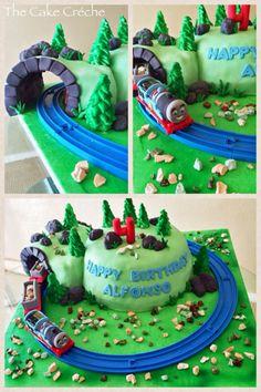 Moving Thomas tank engine train tunnel cake                                                                                                                                                     More