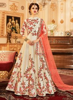 db9708dc0c0 Beautiful White Color Melbourne Silk Floral Thread Embroidery Wedding Wear  Anarkali Suit Become a royal lady with this sizzling white color heavy party  wear ...