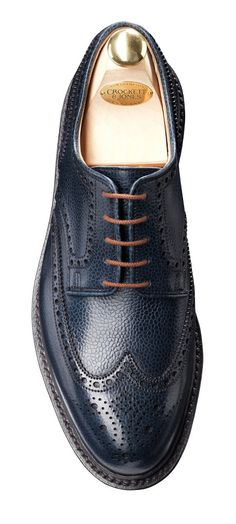 Pembroke Navy Grain, Full Brogue Derby | Crockett & Jones