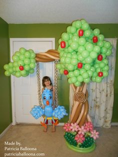 and Balloon Sculptures, Blue Bird on Swing in Apple Tree Balloon Tree, Balloon Hat, Balloon Animals, Ballon Decorations, Balloon Centerpieces, Jungle Balloons, Painting Recipe, Red Ridding Hood, The Giving Tree