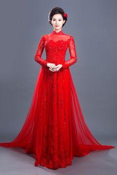 Sang trọng với áo dài cưới đỏ kết ren và hạt lấp lánh - Áo dài cưới