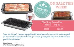 """CHEF TONY BACON PAN from Regal Gifts A healthier way to cook bacon. Chef Tony's bacon pan holds each individual slice of bacon and elevates it to drain the grease away as it cooks. Leaves you with """"perfectly cooked"""" slices of bacon every time! Dishwasher safe. 13""""L x 9""""W Product Number: 63098 http://www.Regal.ca #food"""