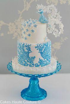 El pájaro azul torta pintada a mano