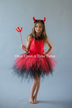 Black Red Pixie Tutu Girls Size 3 6 9 12 18 by OnceUponATimeTuTus
