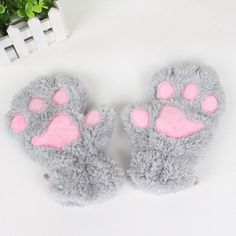 Pair of Cute Women's Little Bear Paw Shape Embellished Downy... (8.78 BAM) ❤ liked on Polyvore featuring accessories, gloves, bear gloves and fingerless gloves