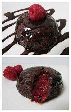 Healthy Raspberry Chocolate Lava Cake!