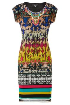 Fitted Print Mesh Dress with stunning bead detail around the neckline.  Aztec-Inspired exclusive print and fully lined for a flattering fit.  This is the perfect dress to make a statement at your next special occasion or night out.   Beaded Print Dress by Ana Alcazar. Clothing - Dresses Queensland Australia