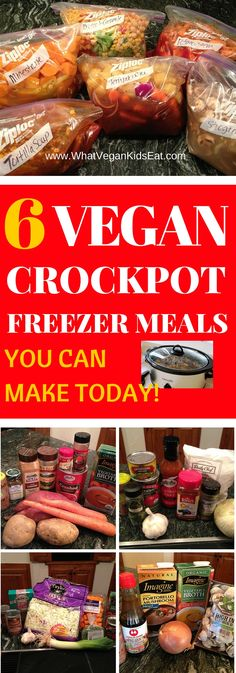 VEGAN Crockpot FREEZER Meals What vegan kids eat – crockpot freezer meals make ahead - Delicious Vegan Recipes Vegan Freezer Meals, Vegan Crockpot Recipes, Freezer Cooking, Cooker Recipes, Crockpot Meals, Kids Vegan Meals, Vegan Recipes To Freeze, Vegetarian Slow Cooker Meals, Vegan Slow Cooker Stew