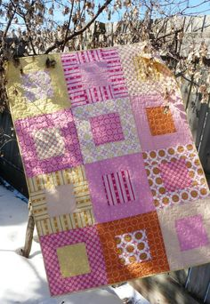 "Simple quilt pattern; From each fat quarter cut 1 – 6½"" square, 2 – 3½"" x 6½"" rectangles, and 2 – 3½"" x 12½"" rectangles."
