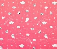 Cute Little Critters In The Sky Decorate This Pink Fabric Perfect For Quilting And Childrens Clothing 100 Organic Cotton Width 44 45