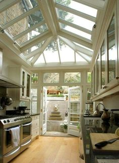 Beautiful kitchen with the open ceilings