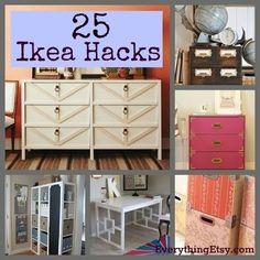 25 DIY ikea ideas :: turn simple Ikea products into amazing home decor. I love ikea!