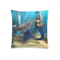 InterestPrint Ocean 3D Underwater World Home Decor, Nice Mermaid Dolphin Starfish Pillowcase 18 x 18 Inches - Sea Grass Fish Blue Cotton Pillow Cover Case Shams Decorative