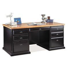 kathy ireland Home by Martin Southampton Double Pedestal Desk - Black - SO680