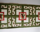 Winter Cardinals Table Runner Pine Cones Pine Boughs