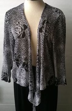 CHICO'S Travelers Spotted Rose Mesh Tied Up ¾ Sleeve Cardigan Top Size 2 NWT #Chicos #BlouseCardigan #Casual