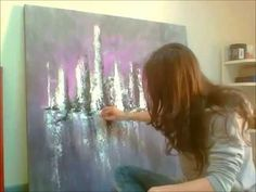 """Démonstration de peinture abstraite (9) Elisabeth - Toile """"Origine"""" - YouTube"""