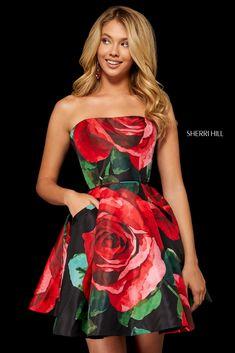 Sherri Hill 52267 Strapless Floral Print Dress Sherri Hill Prom Dresses Short, Sherri Hill Homecoming Dresses, Fitness Video, Prom Dress Stores, Dress Shops, Strapless Dress Formal, Formal Dresses, Designer Prom Dresses, Buy Dress