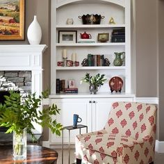 Wall color-SteppingStones by Behr  Trim-CloudWhite by Benjamin Moore    Traditional Family Room Bookcases Design, Pictures, Remodel, Decor and Ideas - page 2