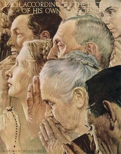 Freedom of Worship  -  During World War II, 1939-1945, Rockwell painted his Four Freedoms series, a group of paintings inspired by a speech from President Franklin D. Roosevelt. They were the Freedom from Want, Freedom of Worship, Freedom of Speech and Freedom from Fear, and were published by the Post.