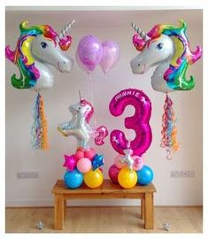 could have a three and a seven on opposite sides I believe I have a purple three already Unicorn Themed Birthday Party, Birthday Balloons, Birthday Party Themes, Balloon Centerpieces, Balloon Decorations Party, Unicorn Balloon, Girl Birthday Decorations, Snacks Für Party, Fiesta Ideas