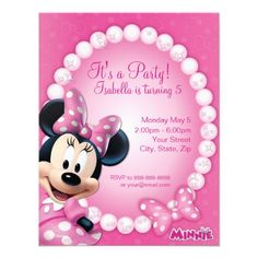Minnie Pink and White Birthday Invitation, customize it with your own party details.
