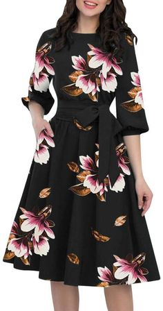 Women Summer Dress Casual Print Floral Beach Party Dresses Vintage Midi Dresses Plus Size Vestidos Half Sleeve Dresses, Midi Dress With Sleeves, The Dress, Vintage Midi Dresses, Elegant Dresses, Floral Dresses, Party Dresses For Women, Casual Summer Dresses, Dress Casual