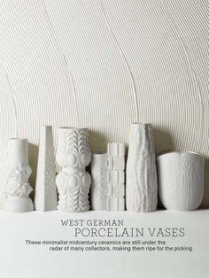 Martha Stewart likes midcentury decor too! Porcelain Ceramics, Ceramic Pottery, Ceramic Art, One Suitcase, Vintage Vases, Mid Century Decor, White Vases, White Porcelain, Mid-century Modern
