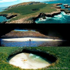 Hidden beach in the middle of a island