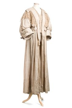 Raw silk coat 1905. The style of the garment reflects the Arts & Crafts Movement of the early 20th century.